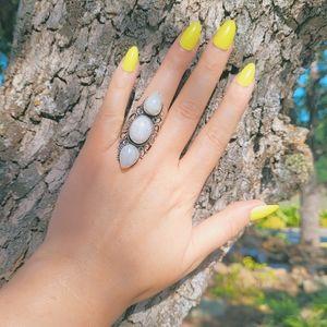 Triple Moonstone Boho .925 Ring NWOT